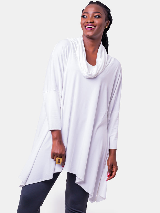 Vivo Angela Cowl Top - White