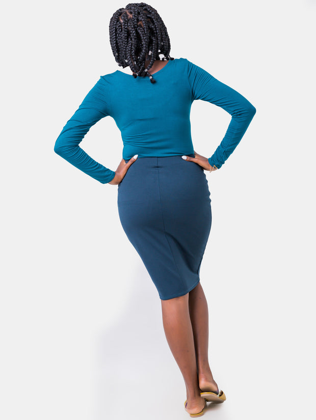 Vivo Panelled Pencil Skirt - Teal