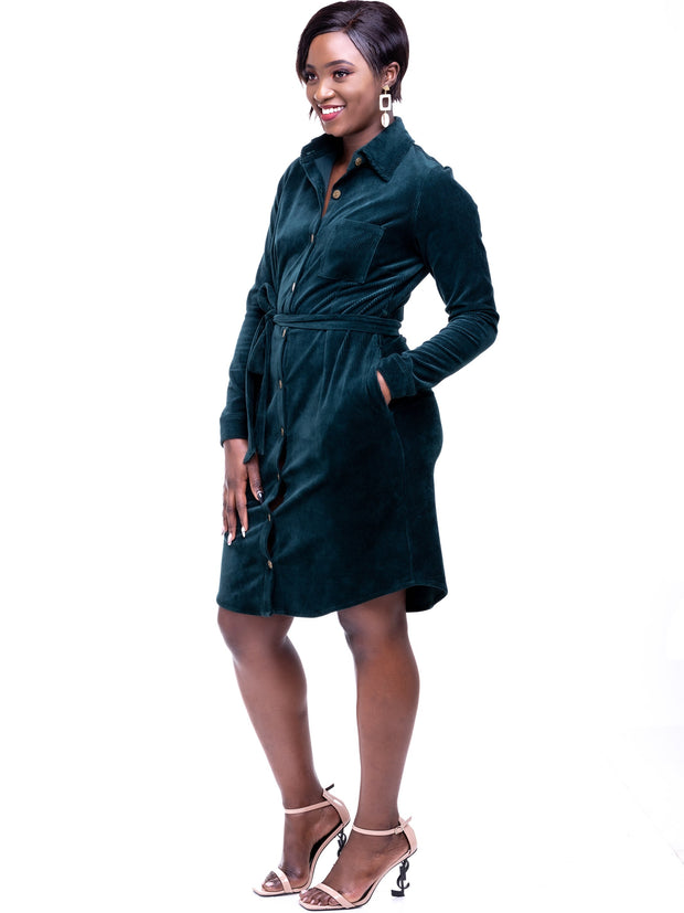 Safari Sahara Shirt Dress - Dark Green - Shop Zetu