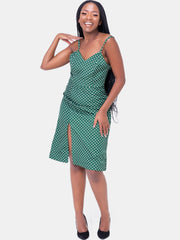 Velvet Spaghetti Strap Dress - Green Print