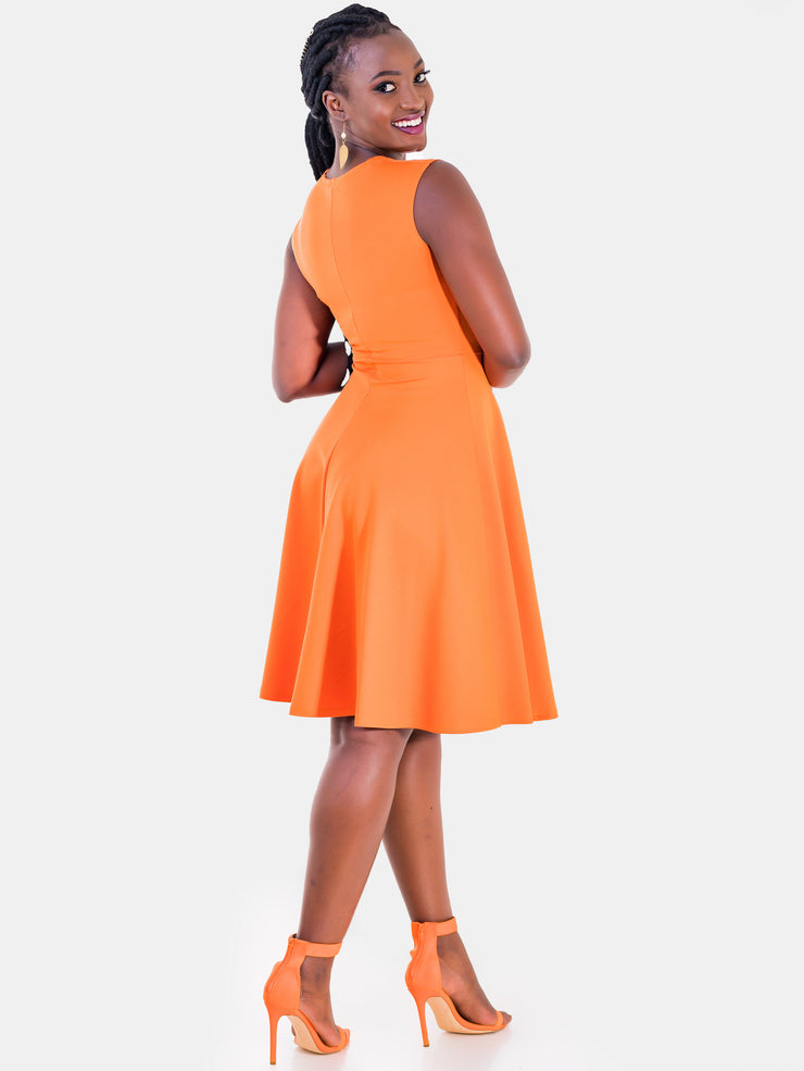 Vivo Ponte Circular Dress - Orange