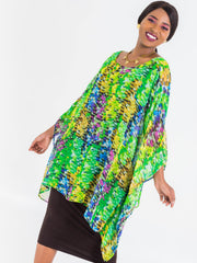 Vivo Tiwi Chiffon Wide Top - Green Print