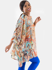 Vivo Tiwi Chiffon Wide Top - Brown Print