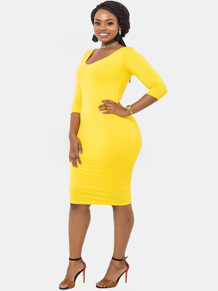 Vivo 3/4 Sleeve Double Layered Bodycon Dress - VivoWoman