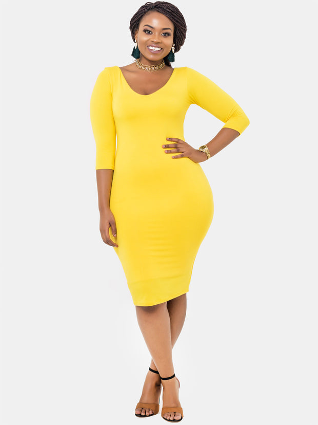 Vivo Basic 3/4 Sleeve Double Layered Bodycon Dress - Yellow