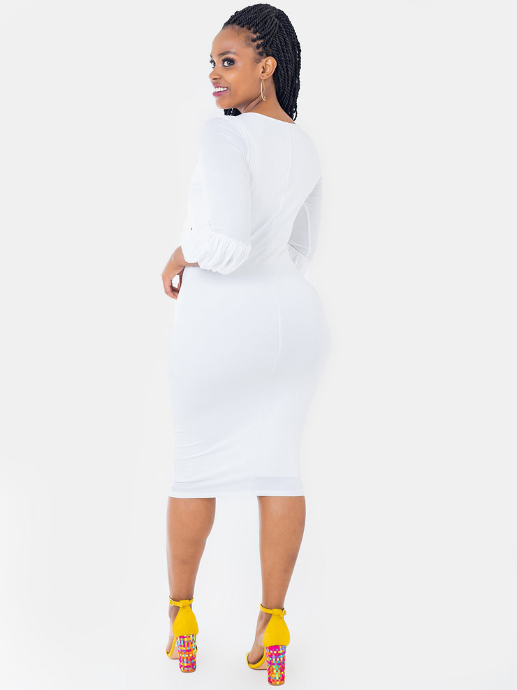 Vivo Puff Sleeve Bodycon - White