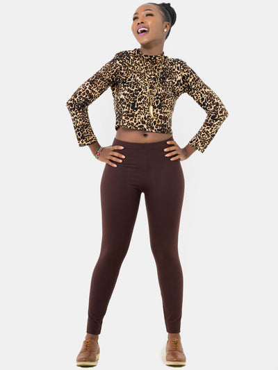 Zetu Full Length Leggings - Chocolate Brown