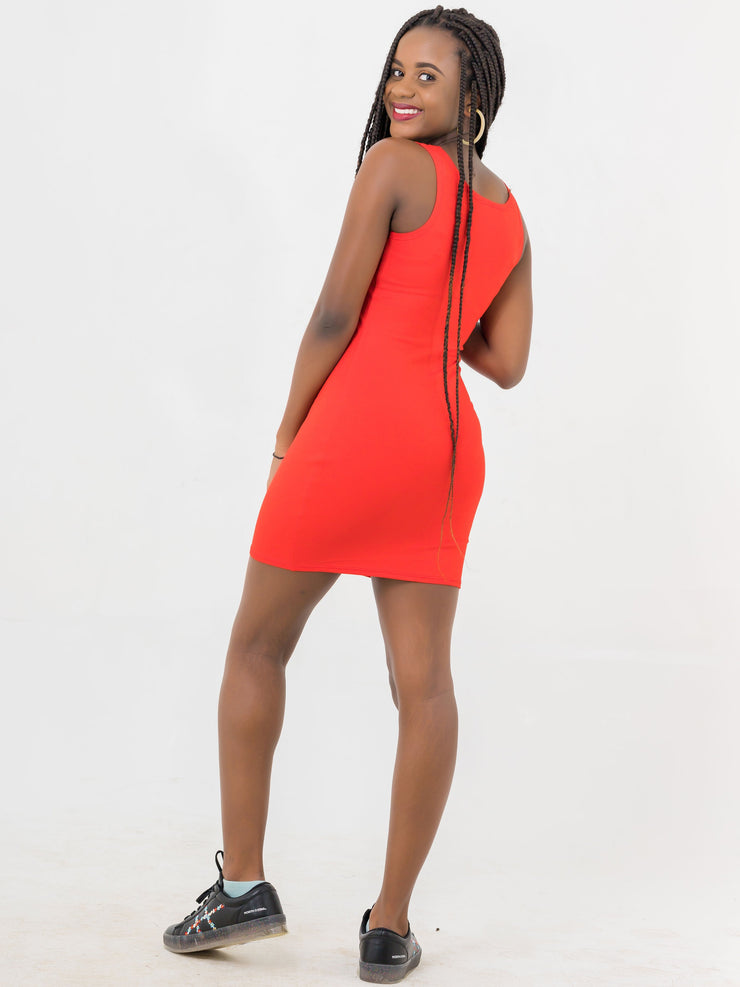 Zetu Basic Mini Bodycon - Red