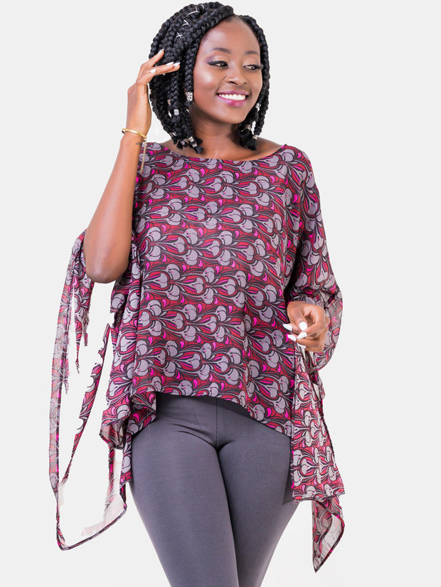 Vivo Tiwi Short Chiffon Top - Grey Floral Print