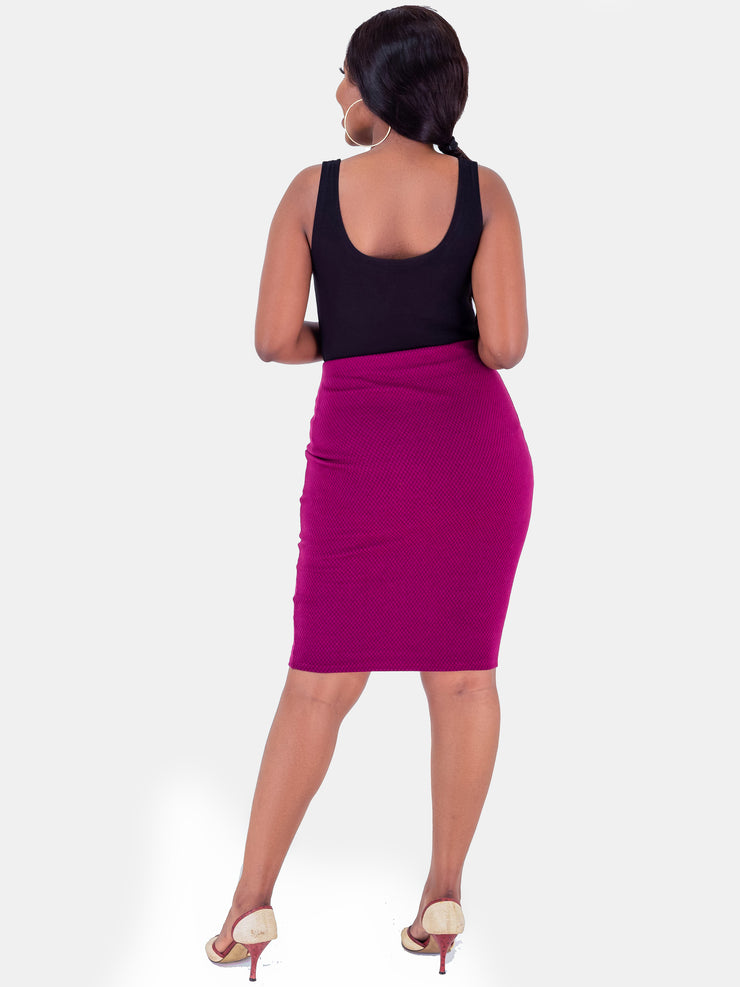 Vivo Roza Pencil Skirt - Burgundy