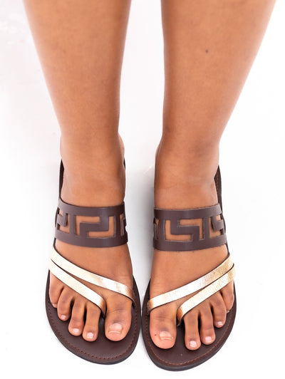 Ikwetta Halogen Laser Sandals - Chocolate - Shop Zetu