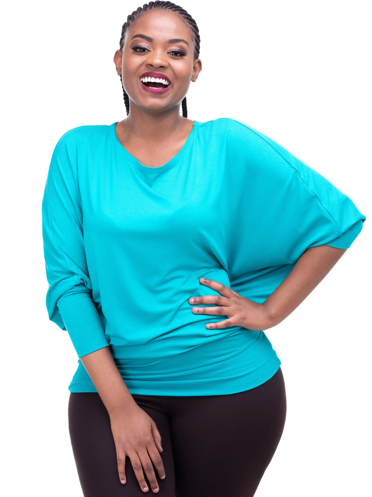 Vivo Tolani Jersey Dolman Top - Sea Green - Shop Zetu