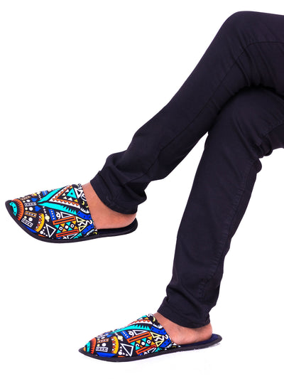 Kitu Kali Tribal Bedroom Slippers - Navy Print - Shop Zetu