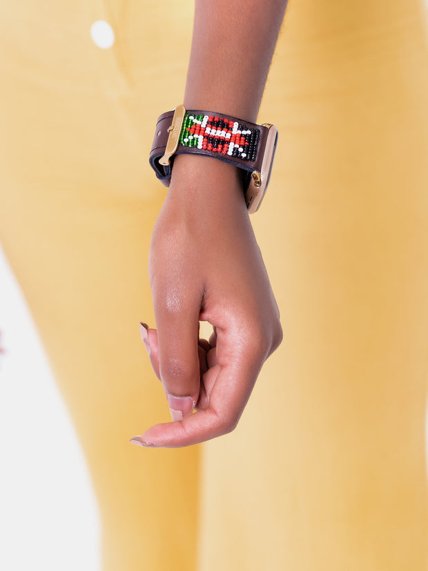 Beaded Apple Watch Strap KE Ngao - Brown