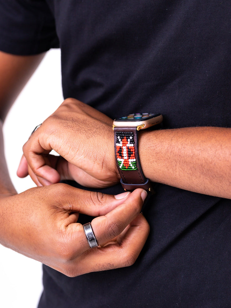 Beaded Huawei Watch Strap KE Ngao - Brown - Shop Zetu