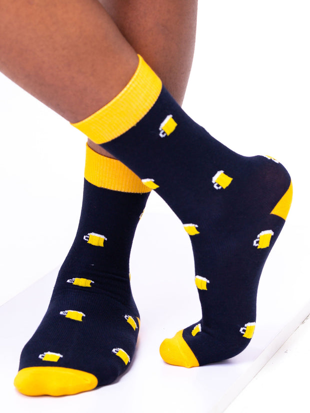 Afrokiks Frosty Socks - Navy Blue/Yellow