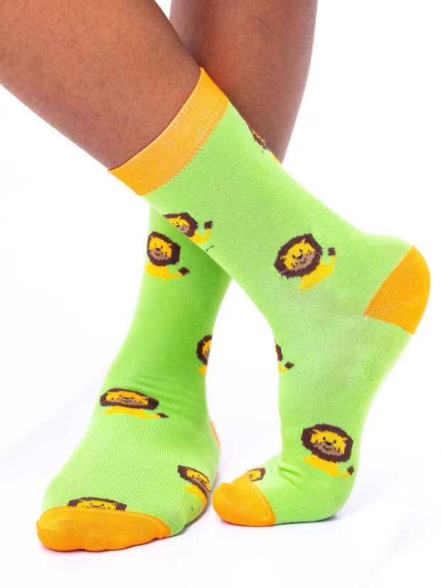 Afrokiks Leo Socks - Green/Orange