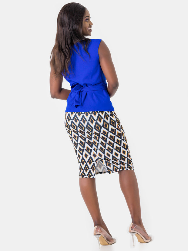 Vivo Mali Tie Top No Ankara - Royal Blue