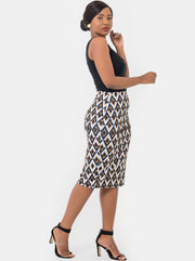 Vivo Sierra Pencil Skirt - Yellow Print