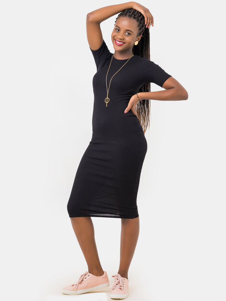 Zetu Ribbed Boundneck Short Sleeved Midi Bodycon - Black