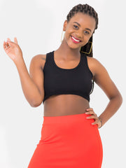 Zetu Ribbed Racerback Crop Top - Black - Shop Zetu