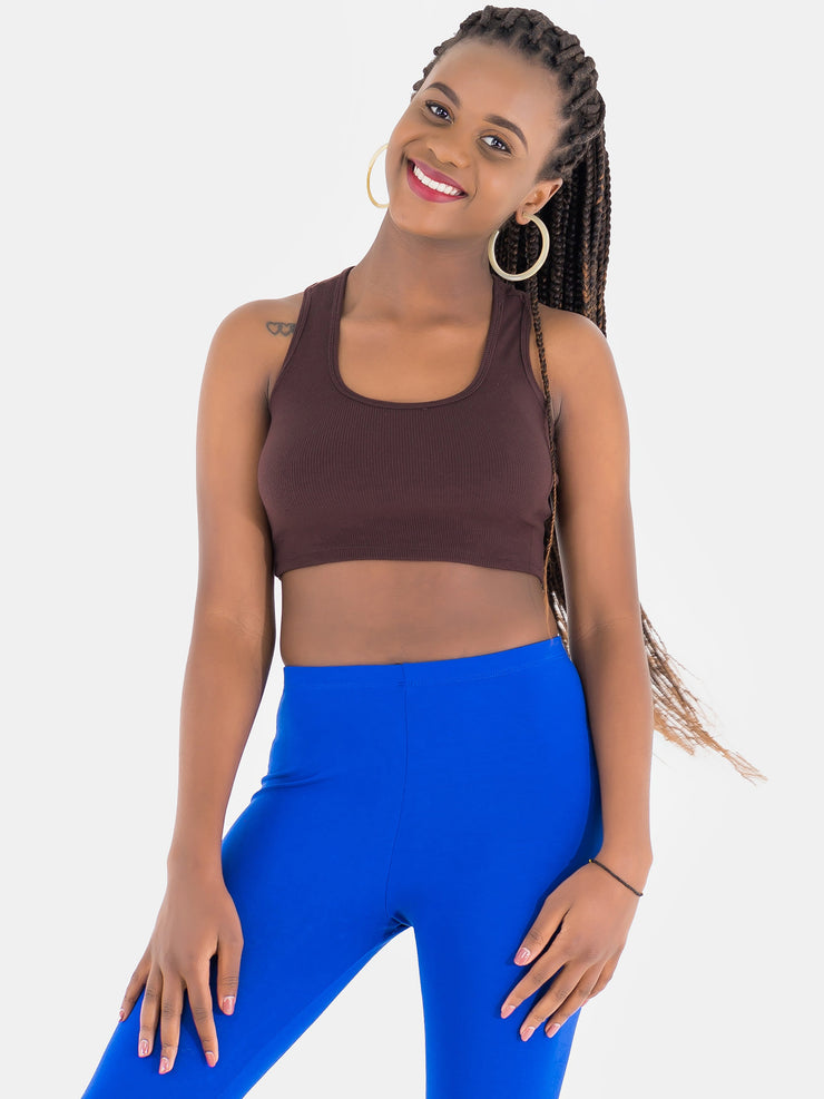Zetu Ribbed Racerback Crop Top - Brown - Shop Zetu