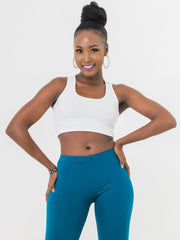 Zetu Ribbed Racerback Crop Top - White - Shop Zetu