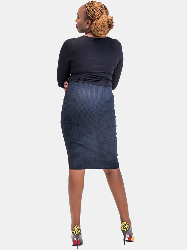 Vivo Plaid Pencil Skirt - Teal Print