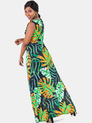Vivo Olivia A-line Maxi Dress -  Green Print