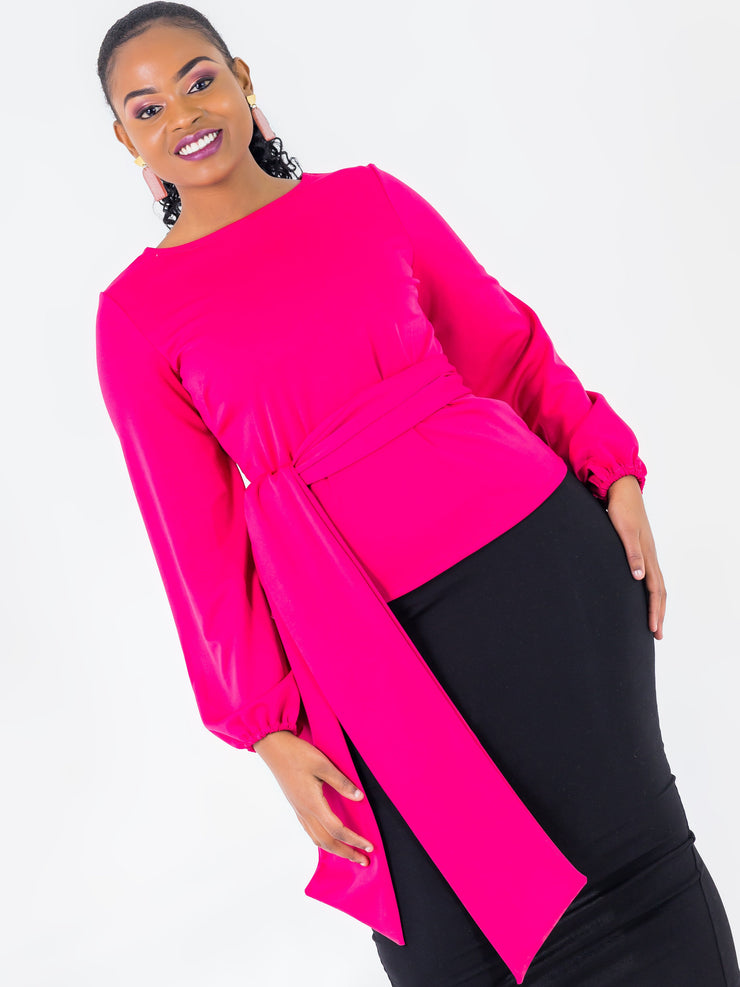 Vivo Olivia Bishop Sleeve Top - Pink - Shop Zetu