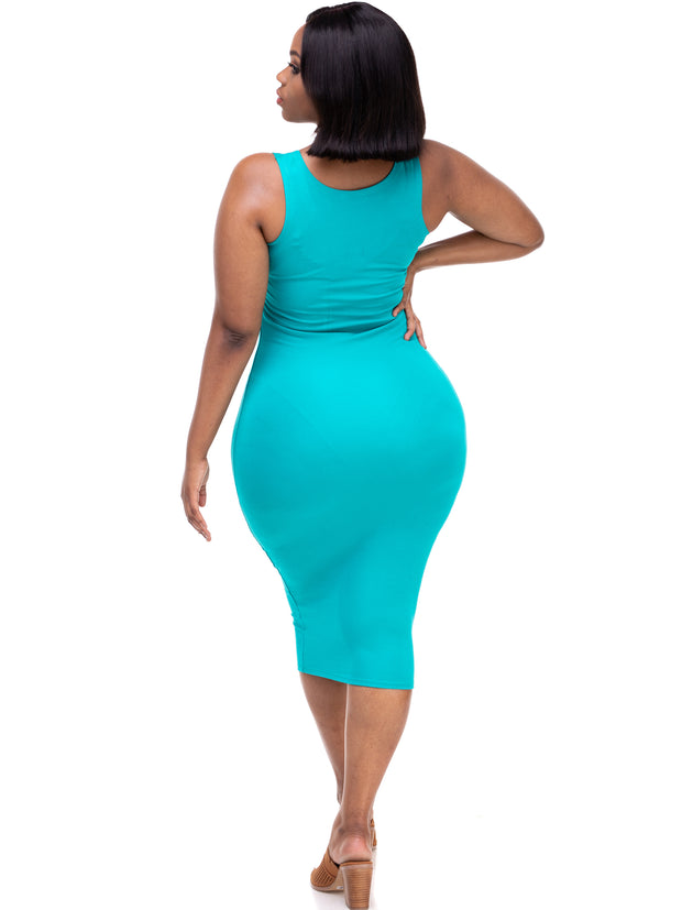 Vivo Basic Sleeveless Leila Bodycon Dress - Sea Green