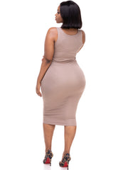 Vivo Basic Sleeveless Leila Bodycon Dress - Taupe