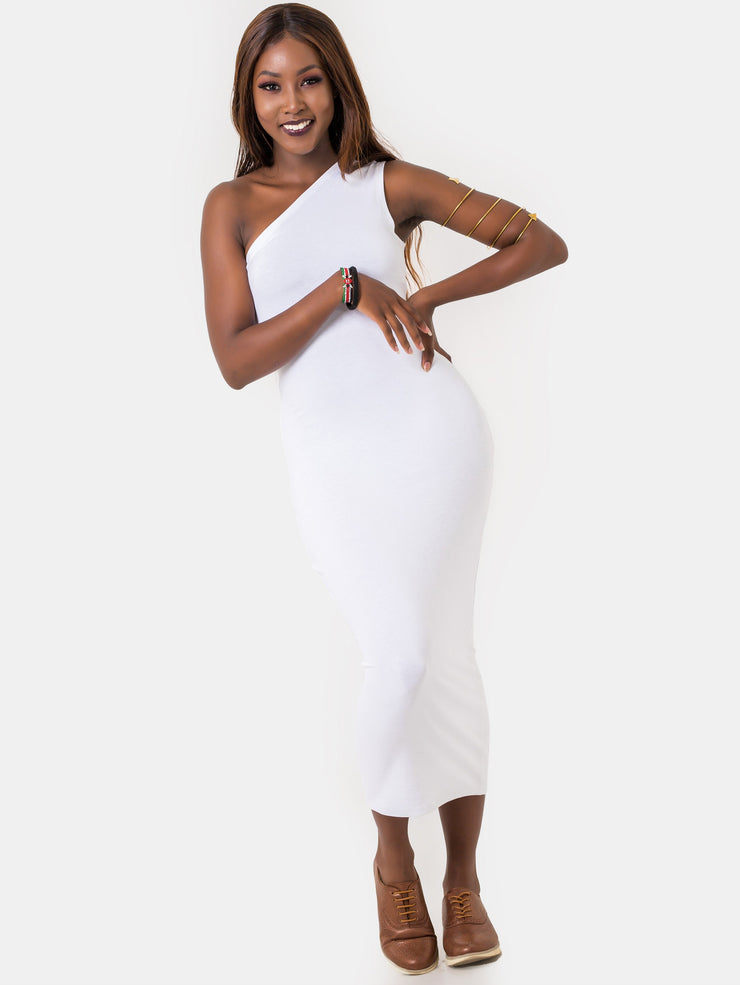 Zetu Jersey One Shoulder Bodycon - White - Shop Zetu
