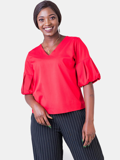 Vivo V-Neck Puff Sleeve Top - Red