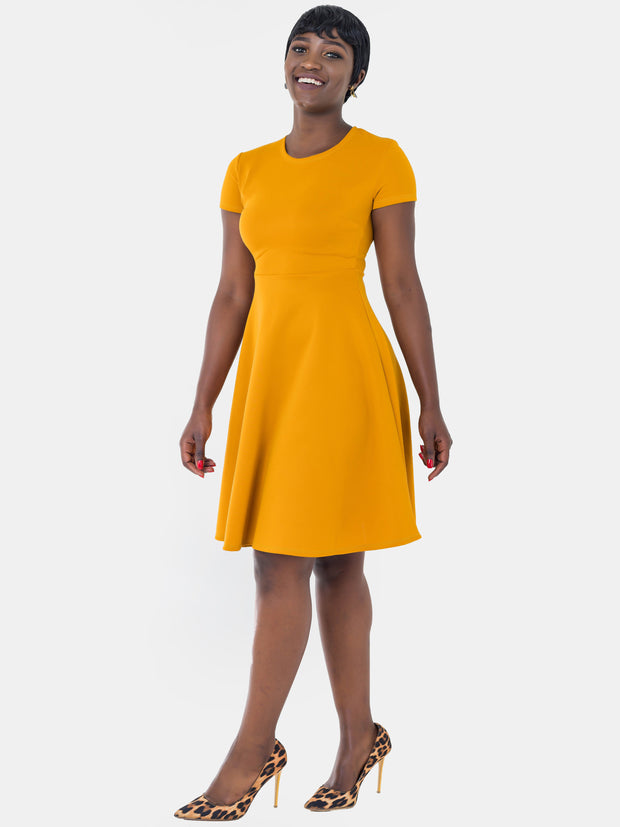 Vivo Sierra Scuba Circular Dress - Yellow