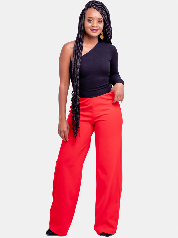 Vivo Escape Wide Leg Pants - Red - Shop Zetu