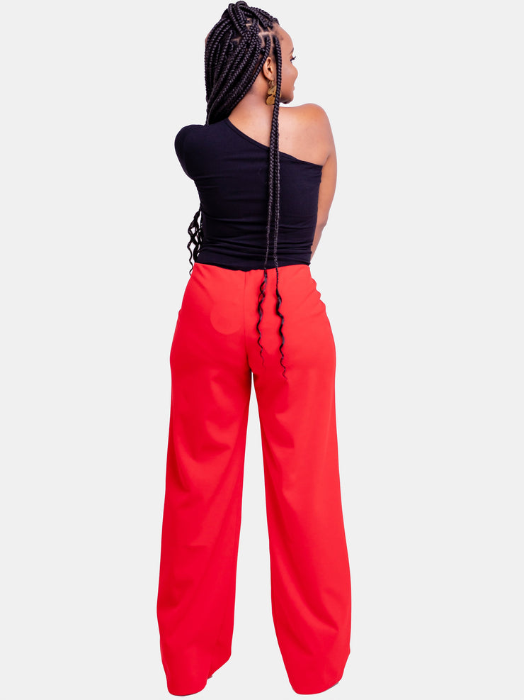 Vivo Basic Escape Wide Leg Pants - Red