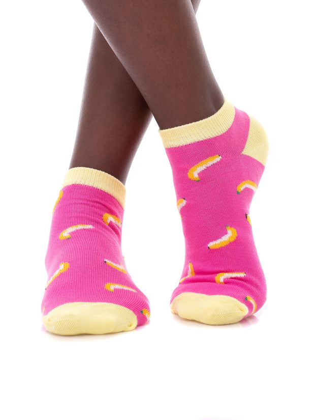 Afrokiks Banana Socks - Fuschia/White