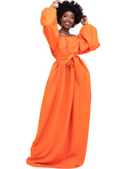 African Yuva Wakio Off Shoulder Maxi Dress - Orange