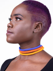 Walovebydesign Naila Chocker - Blue/Yellow/Orange Print - Shop Zetu
