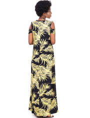 Vivo Lamu Cold Shoulder Maxi Dress - Black / Yellow Print
