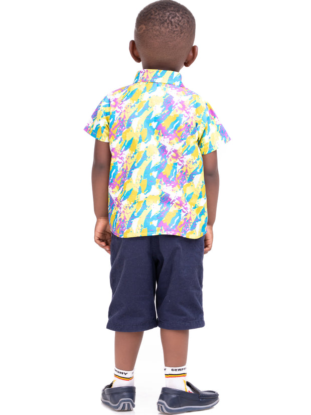 Kidosho Pambo Boys' Shirt - Yellow / Blue Print