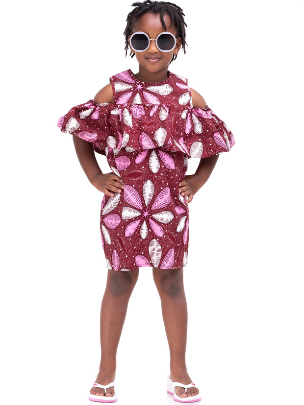 Kidosho Pambo Girls' Cold Shoulder Dress - Maroon / White Print