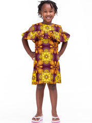 Kidosho Pambo Girls' Cold Shoulder Dress - Yellow / Maroon Print