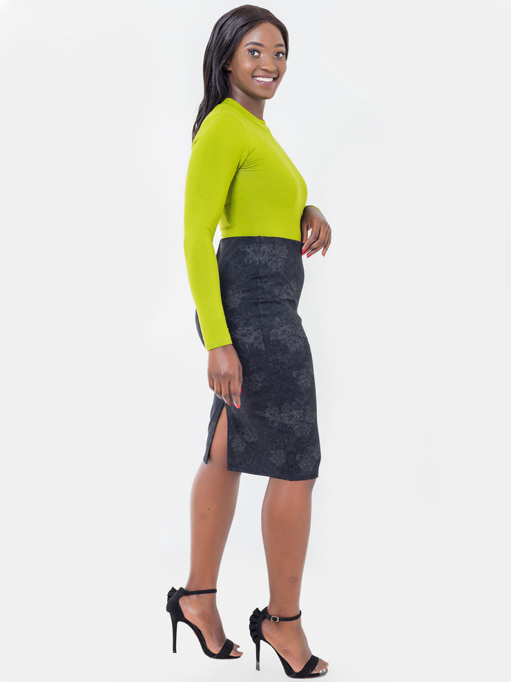Vivo Flora Pencil Skirt - Black