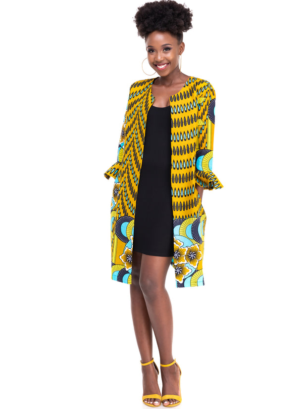 Kidosho Pambo Long Coat - Mustard / Sea Green