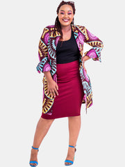 Kidosho Pambo Long Coat - Pink Circle Print - Shop Zetu