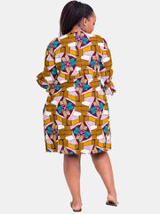 Kidosho Pambo Long Coat - Yellow-Blue Print - Shop Zetu