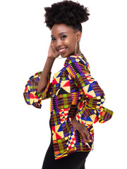 Kidosho Pambo Short Coat - Blue / Yellow Print