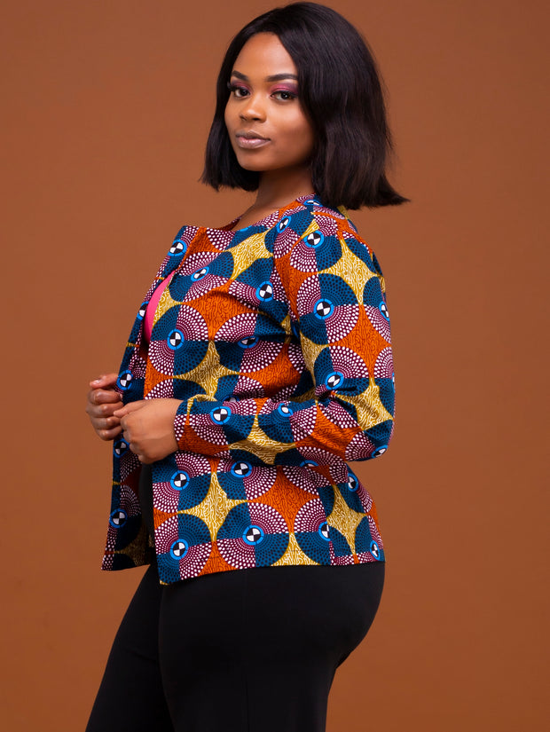 Kidosho Pambo Short Coat - Brown / Navy Print